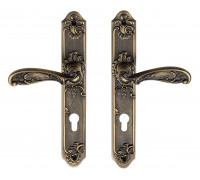 Дверная ручка на планке Archie Genesis Flor ANT. COFFEE (CL) под цилиндр античный кофе