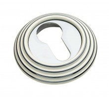 Накладка круглая под евроцилиндр Adden Bau Sc V001 ENAMEL CHROME Белый/хром