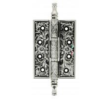 Дверная петля Extreza 6110 универсальная латунная 102x76x4 натуральное полированное серебро + черный F24 (1 шт)