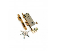 Замок врезной L01-45-70 AB/ACF антич. бронза / античный кофе с защелкой (A = 85 мм), 3 прямоугольных ригеля , английский ключ