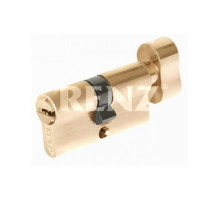 Ключевой цилиндр RENZ 60 мм ключ-завертка CS 60-H PB латунь блестящая