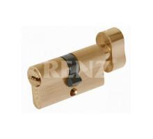 Ключевой цилиндр RENZ 60 мм ключ-завертка CS 60-H SB латунь матовая