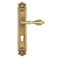 """Дверная ручка Venezia """"ANAFESTO"""" CYL на планке PL97 французское золото + коричневый"""