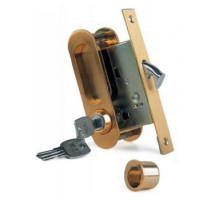 Ручка для раздвижных дверей с замочным механизмом Archie А-К 01/02-V1II матовое золото