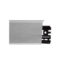 Плинтус пластиковый (ПВХ) Arbiton INDO 41 Алюминий светлый 2500 х 70 х 26 мм, монтажная планка в комплекте