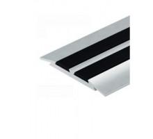 Порог алюминиевый CEZAR (Цезарь) с резиновой вставкой 45мм (0,9 м) цвет Алюминий Полированный