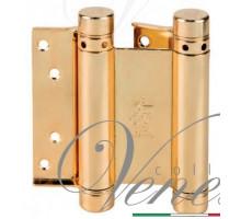 Петля дверная пружинная (барная) Aldeghi 101AO125 латунь полированная 125x42x48мм
