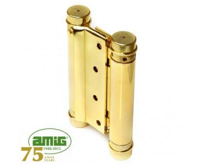 Петля дверная  пружинная Amig-3037-75*126 золото 75мм