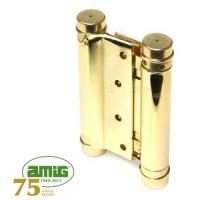 Петля дверная пружинная Amig-3037-100*126 золото 100мм