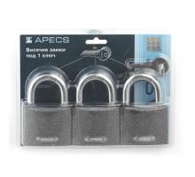 Навесной замок Apecs PD-01-63-Blister комплект из 3-х замков под 1 ключ