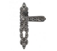 Дверная ручка на планке Archie Genesis Arabesco BL. SILVER (CL) под цилиндр черненое серебро