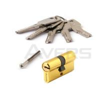 Цилиндровый механизм Avers ZM-60-G (золото) ключ/ключ, перфорированный ключ
