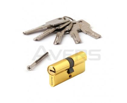 Цилиндровый механизм Avers ZM-70-G (золото) ключ/ключ, перфорированный ключ