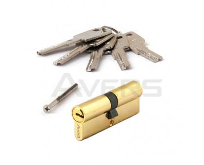 Цилиндровый механизм Avers ZM-80-G (золото) ключ/ключ, перфорированный ключ