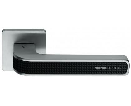 Дверная ручка Colombo Tecno MO11 RSB на квадратной розетке (мат. хром/карбон)
