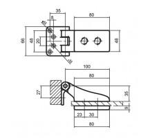 Петля для стеклянных дверей RENZ GDH 70 CP хром блест.