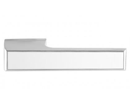 Дверная ручка Tupai Melody Vario 3089 RE матовый хром 96 + вставка белый глянец