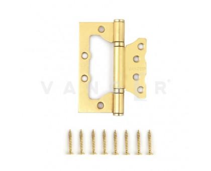 Петля дверная без врезки Vanger 100мм матовое золото 100*75*2,5-P2-GM