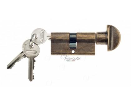 Ключевой цилиндр Venezia 70мм (40/30Т) ключ/вертушка антич. бронза