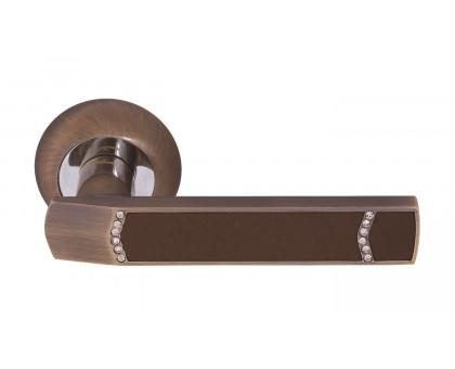 Дверная ручка Vilardi Элла бронза с кристаллами + кожа