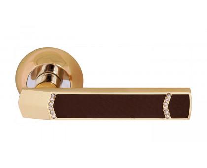Дверная ручка Vilardi Элла золото с кристаллами + кожа